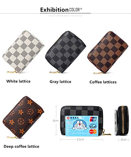Classical Lattice Small Leather RFID Blocking Credit Card Holder with 11 Card
