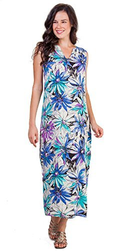 (Peppermint Bay Sleeveless Rayon Shift Maxi Dress in Daisy Splash (S (2-4), Peri/Aqua/White/Black))
