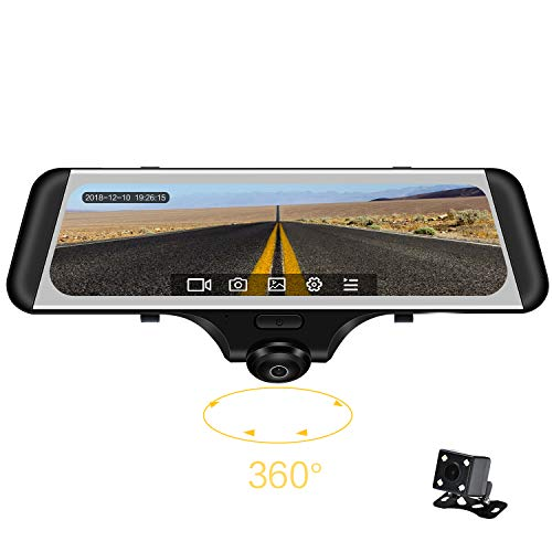9.88' 360 Degree Panoramic Car DVR Camera Full View HD 1080P Recorder Streaming Media Media Camcorder Mirror Dash Cam Night Vision Fisheye len Front and Rear Camera