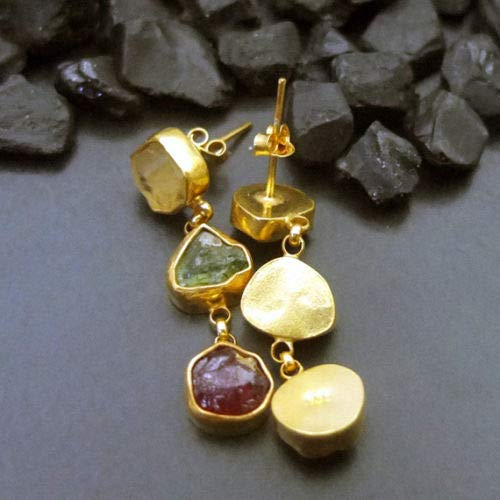 Ancient Design Jewelry Handmade Designer Citrin Apatite & Ruby Earring 22K Gold over Sterling Silver ()