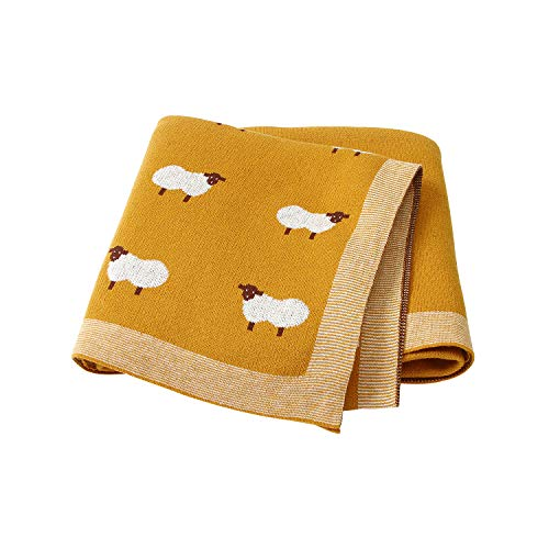 mimixiong Baby Blanket Knit 100% Cotton Toddler Blankets for Boys and Girls with Cute Sheep Size Yellow 30 x 40 inches