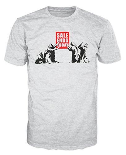(Banksy Sale Ends Today T-Shirt (L, Ash Grey))