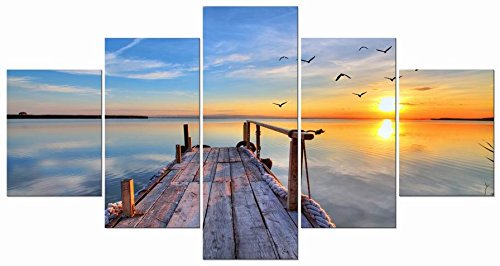 Wieco Art - Bridge under Sunrise Large Modern 5 Panels Gallery Wrapped Canvas Prints Seascape Sea Beach Pictures Paintings on Canvas Wall Art Work Ready to Hang for Living Room Bedroom Home Decor XL