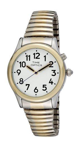 TimeOptics Men's Talking Two-Tone Alarm Expansion Bracelet ()