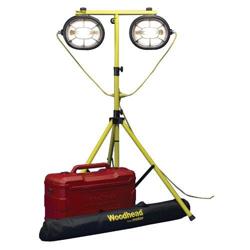 Woodhead 1075HZ2X003123X003 Wide Area Light, Hazardous Duty, 110W, Haz Lock NEMA 5-15 Plug and 5-15 Connector, 12/3 SOOW, 3ft Primary & Secondary Cord