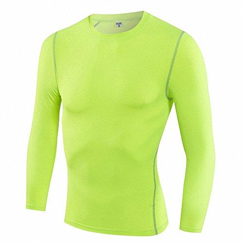 Maoko Men's Fitness Compression Baselayer Long Sleeves Athletic Shirts Green (Hawaiian Football Shirt)