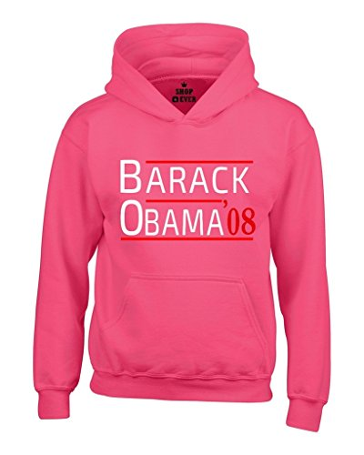 Shop4Ever Barack Obama '08 Hoodies President Sweatshirts Small Heliconia Pink (President 2008 Hooded Sweatshirt)