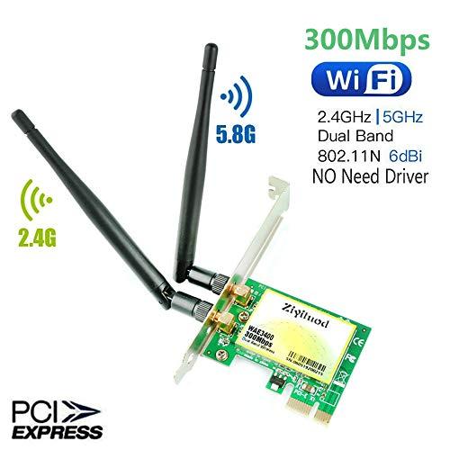 WiFi Card,PCIE Express WiFi Card,300Mbps Wireless Wifi pcie Network Card,5GHz/2.4GHz Dual-Band WiFi Adapter Card,Wireless Wifi adapter for desktop/Pc,Support Windows 10/8.1/8/7 Linux Mac OS(WAE3400)