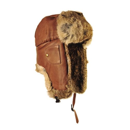 (Mad Bomber Hickory Brown Pilot Aviator Bomber Hat Real Rabbit Fur Trapper Hunting Cap, Small)