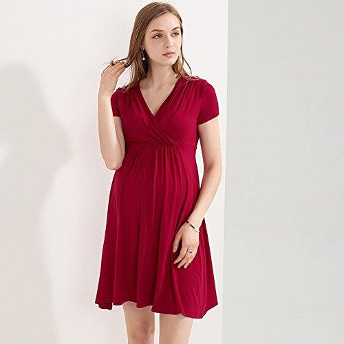 Europa partum V rosso confortevole l'abito 2018 a a e estivo vestono madre incinte infermieristica hot post corte gonna donne America maniche moda scollo Slim ZH Vino Fq6g0x