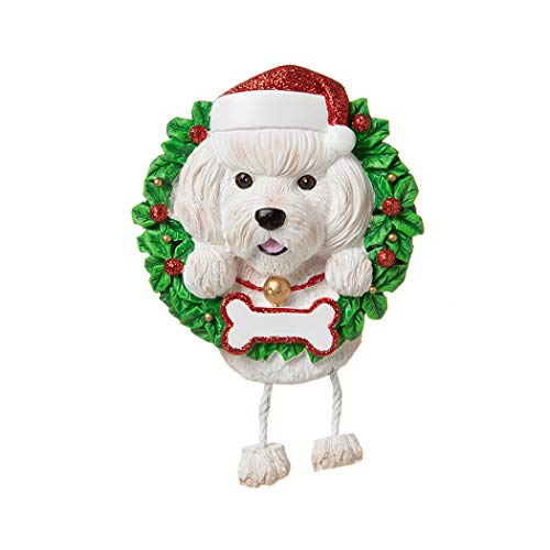 Personalized Bichon Frise Pure Breed Christmas Tree Ornament 2019 - Fluffy Dog Dangle Paw Santa Hat Cheer Happy Energetic Smart Intelligent Play Fur-Ever New Loyal Family R.i.p. - Free Customization (Bichon Frise Christmas Ornaments)