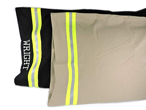 Firefighter Pillowcase, Standard or King Pillowcase, Option to Personalize with Embroidered Name, Bunker Gear Look