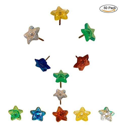 Joyci 50Piece Push Pins Trans Colors Star Drawing Pin Plan Head 0.6