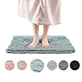 Freshmint Chenille Bath Rugs Extra Soft Fluffy and Absorbent Microfiber Shag Rug, Non-Slip Runner Carpet for Tub Bathroom Shower Mat, Machine-Washable Durable Thick Area Rugs (16.5' x 24', Blue)
