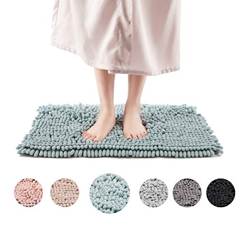 Freshmint Chenille Bath Rugs Extra Soft Fluffy and Absorbent Microfiber Shag Rug, Non-Slip Runner Carpet for Tub Bathroom Shower Mat, Machine-Washable Durable Thick Area Rugs (16.5