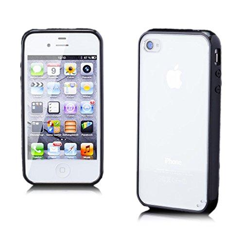 Apple iPhone 4 / 4S | iCues TPU Pare-chocs avec Clear Retour Case Black | [Protecteur d'écran, y compris] protecteur de feuille transparente Temps clair de gel de silicone Housse étui de protection co