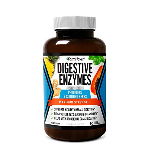 affordable FarmHaven Digestive Enzymes with 12 Probiotics  6 Soothing Herbs | Bromelain, Protease, Papaya  More Support Healthy Digestion | Helps Bloating, Gas, Constipation | Vegetarian, 60 Capsules