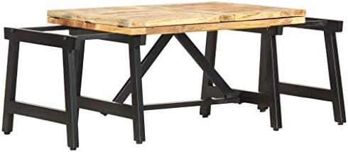 100% Authentiek Tidyard Uittrekbare salontafel, consoletafel, woonkamertafel, massieve tafel, koffietafel, 160 x 70 x 45 cm, eettafel, keukentafel, balkontafel, tuintafel, massief mango  z2D2pwa