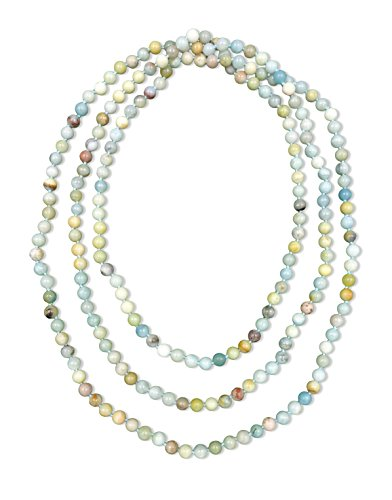 MGR MY GEMS ROCK 80 Inch Super Long Polished 8MM Genuine Stone Multi-Layer Long Endless Infinity Beaded Necklace.