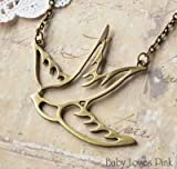 Tattoo-inspired Flying Swallow Necklace