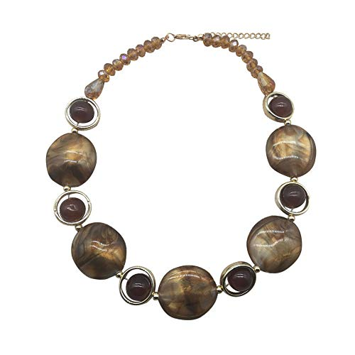 JHWZAIY Acrylic Crystal Necklace for Women Beads Statement Chunky Necklace and Earring Set (Brown)
