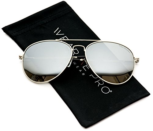 Premium Polarized Mirrored Aviator Sunglasses w/ Flash Mirror Lens (Full - Men Polarized Mirrored For Aviator Sunglasses