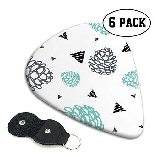 Pinecone Three Light - TONFQW Classic Celluloid Guitar Picks, Pretty Pinecone,6 Pack,3 Different Sizes Light/Thin, Medium, Heavy/Thick