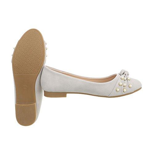 Clásicas Ancho gris Zapatos Bailarinas Ital 180 Tacón clair A Para Mujer Bailarinas Design qCnC8x4