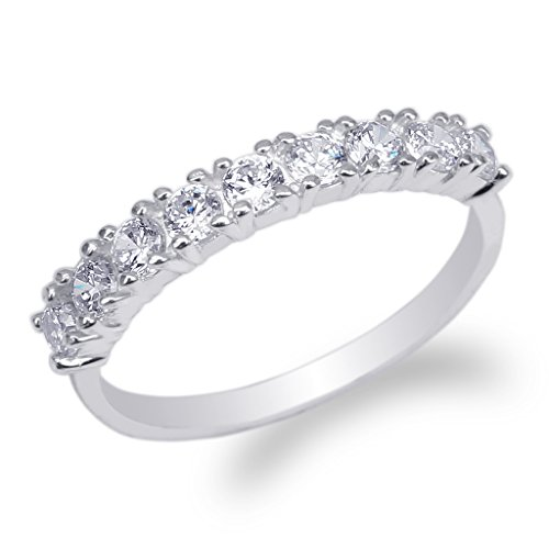 White Gold Eternity Prong (JamesJenny Womens 10K White Gold Round CZ Beautiful Eternity Band Ring Size 8)