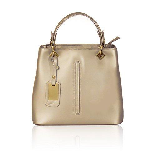 Valentina glad myitalianbag met nikkellicht goud afneembare goud handtas Italiaanse onbuigzaam schouderhanger leer dvBn7BW