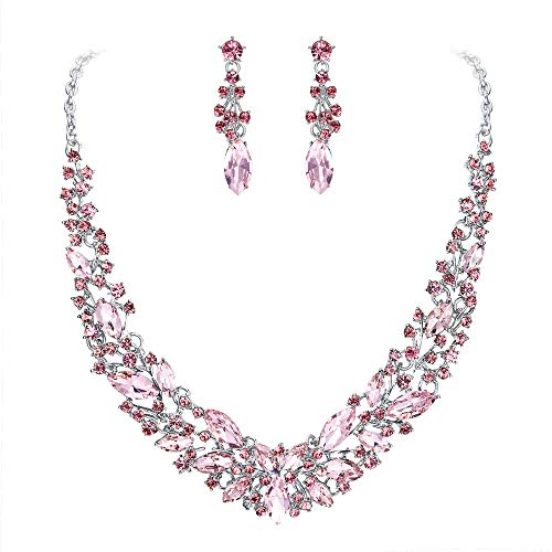BriLove Wedding Bridal Necklace Earrings Jewelry Set for Women Austrian Crystal Marquise Cluster Collar Necklace Dangle Earrings Set Pink Silver-Tone ()