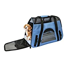 19-Inch Large Soft Sided Pet Carrier Airline Approved Comfort Travel Tote Shoulder Bag for Small Dogs Cats Small Pets Tote w/ Seat Belt Buckle & Removable Fleece Bed By KritterWorld - Blue