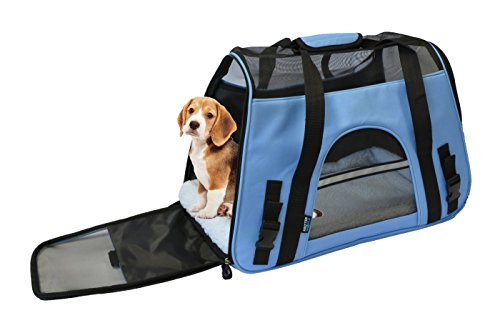 KritterWorld-19-Inch-Large-Soft-Sided-Pet-Carrier-Comfort-Airline-Approved-Travel-Tote-Shoulder-Bag-for-Small-Dogs-Cats-Small-Animals-Tote-w-Seat-Belt-Buckle-Removable-Fleece-Bed