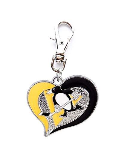 - Heavens Jewelry Pittsburgh Penguins Hockey Team Heart Charm ADD to Zipper Pull PET Dog CAT Collar Leash Keychain ETC