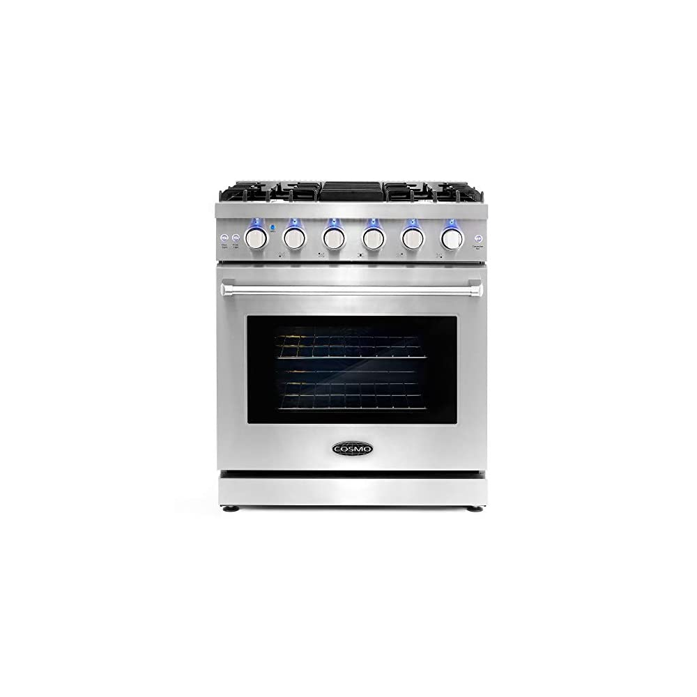 Cosmo COS-EPGR304 Slide-In Freestanding Gas Range with 5 Sealed Burners, Cast Iron Grates, 4.5 cu. ft. Capacity…