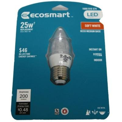 (EcoSmart 25W Equivalent Soft White (2700K) B11 Clear Blunt Tip Decorative Dimmable LED Light Bulb)