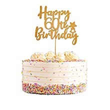 Gold Glittery Happy 60th Birthday Cake Topper for Hello 60, Cheers to 60 Years, 60 & Fabulous Party Decoration, 60th Birthday Party Decorations