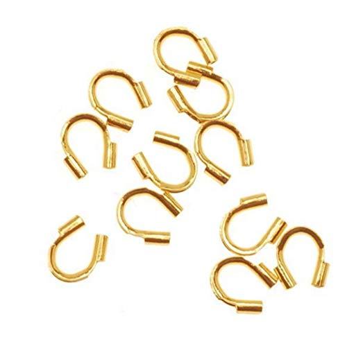 (500pcs Top Quality Wire Guard Thread Protector Loop Guardian Gold Plated Brass Metal (Hole ~ 0.02