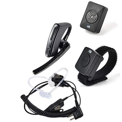 HYS Wireless Bluetooth Walkie Talkie Earpiece with Wireless PTT/Dongle, Wire Earpiece/Headset PTT Mic 2 pin Surveillance Kit Mic Acoustic Tube Earpiece for Motorola CP200 CLS1110 CLS1413 CLS1450 (Earpiece Bluetooth Motorola Radio)