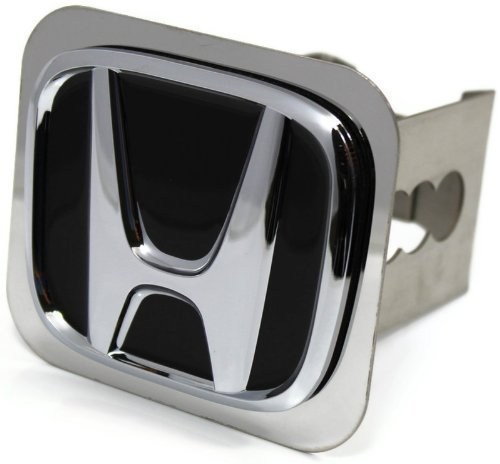 "Au-Tomotive Gold, INC. Black Honda Logo Hitch Cover 2"" Hitch Receivers Cover Plug Stainless Steel"