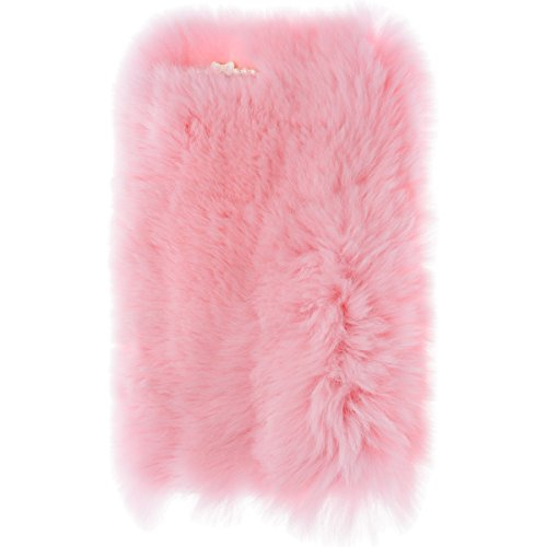 We Love Case Felpa Carcasa para Apple iPhone 7 Plus Funda Gris Peluche Diseño Nuevo Caliente Mullido Villi Piel Funda Bling Strass Case Glitter Diamante Funda Cáscara Dura PC Bumper Case Cover Resiste Felpa 04