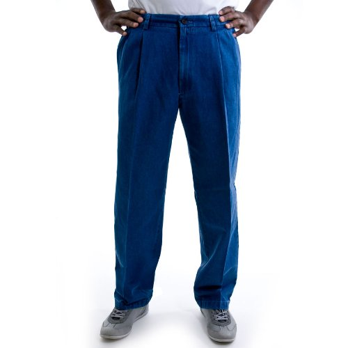 Haggar Men Work to Weekend Pleated Front Denim Pant - Big Sizes Weekend Cotton Pleated Pants
