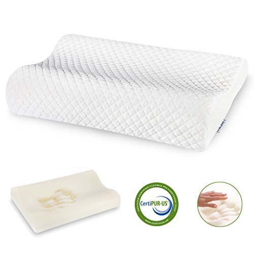 LANGRIA Contoured Icy Cooling Fabric Memory Foam Support Pillow with High and Low Loft Design, Removable Zippered Cover, CertiPUR US Certified, (21.7 × 13.4 × 3.9 3.1 inches) White