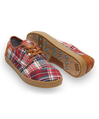 Men's Toms Red/Navy Plaid Classic Paseos Size 11 - Classic Plaid Sneakers