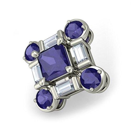 14K Or blanc 0,32CT TW Round-cut-diamond (IJ | SI) et iolite Boucles d'oreille à tige