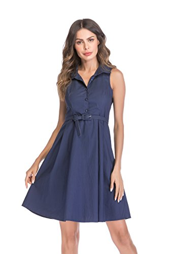 NALATI Women's Point Collar Sleeveless Front-Button Belted Cotton Poplin Shirtdress (4/6, Blue) ()