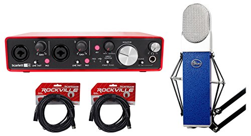 Blue Blueberry Condenser Recording Microphone Mic+Focusrite Interface+XLR Cables (Microphone Blueberry Cable)