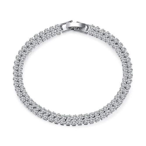 Feraco White Tennis Crystal Bracelets for Women Double Row Cubic Zirconia Plated Jewelry, 6.89inch
