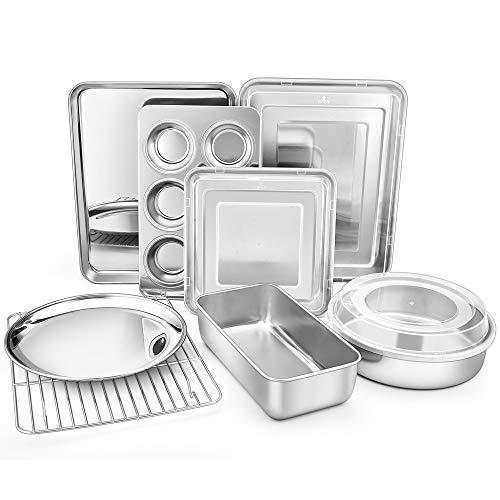 TeamFar Bakeware, Stainless Steel Bakeware Set with Baking Sheet and Rack, Lasagna Pan with Lid, Square & Round Cake Pan…