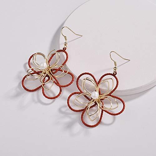 Zwpon 2018 Fall Colored Gold Filigree Pearl Flower Earrings for Women Jewelry Large Earrings ()